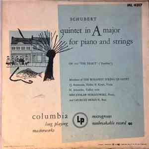 Schubert, Budapest String Quartet - The Trout Quintet In A Major For Piano And Strings album FLAC